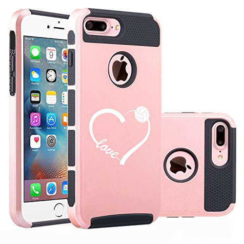 For Apple iPhone (7 Plus) Shockproof Impact Hard Soft Case Cover Love Heart Volleyball (Rose Gold-Black)