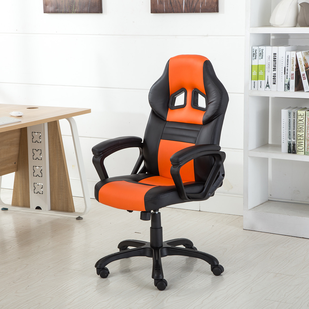 Belleze Executive Racing Office Chair Leather Swivel Computer Desk Seat High-Back, Orange