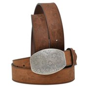 Angel Ranch DA5042-S 1.50 in. Floral Embossed Distressed Full Grain Leather Ladies Belt, Brown - Small