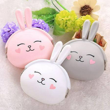Fashion Cute Cartoon Rabbit Design Coin Purse Zipper Silicone Wallet Small Key Card Bag - image 1 of 7