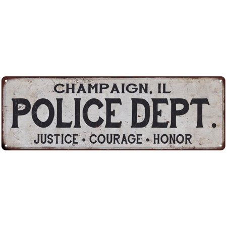 CHAMPAIGN, IL POLICE DEPT. Vintage Look Metal Sign Chic Decor Retro 6183104 ()
