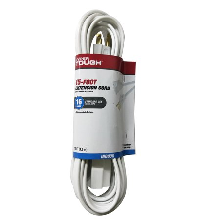 Outlets Rackmount 1u 15ft Cord - Hyper Tough 15ft SPT-2 16/3 White Single Outlet Cord