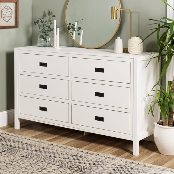Annabelle Six Drawer Solid Wood White Dresser By Chateau Lyon Walmart Com Walmart Com