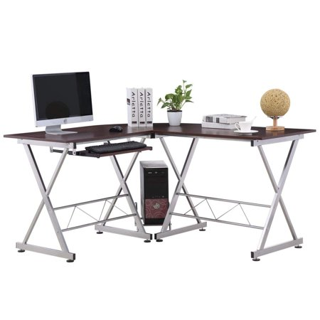UBesGoo Wooden Corner L-Shaped Computer Desk With Keyboard Tray And Detachable Computer Tower Cart Corner Computer Desk Tower