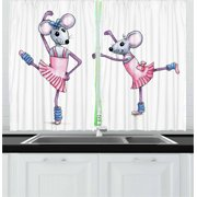 Kids Girls Curtains 2 Panels Set, Watercolor Style Illustration Dancing Ballerina Mice with Pink in Pink Dresses, Window Drapes for Living Room Bedroom, 55W X 39L Inches, Multicolor, by Ambesonne