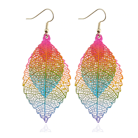 ON SALE - Metal Mesh Dangling Double Leaf Earrings Rainbow (Mesh Ring Earrings)