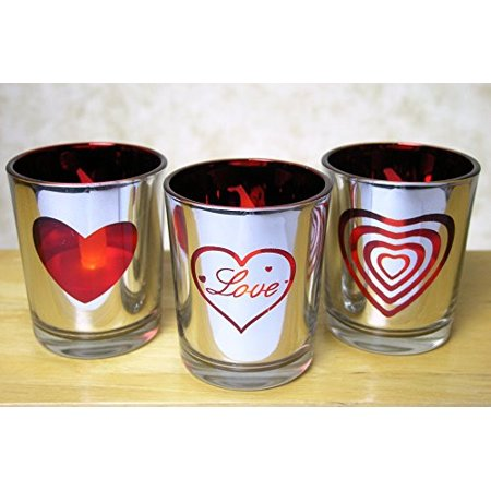 Glass Votive Candle Holders Silver & Red - Love and Heart Shapes - Set of 3
