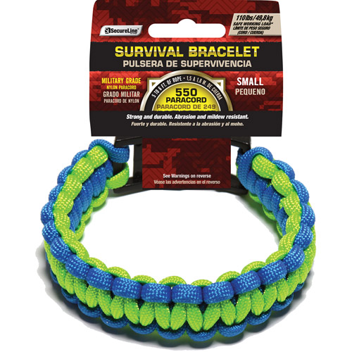 "SecureLine 550 lb Military Grade Paracord Survival Bracelet, Small, 7.5"", Blue/Green"