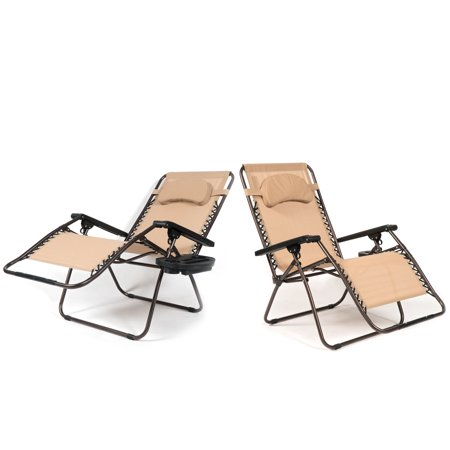 Fantastic Belleze Xl Oversized 2 Pack Zero Gravity Chairs Patio Lounge Cup Holder Utility Tray Beige Beatyapartments Chair Design Images Beatyapartmentscom