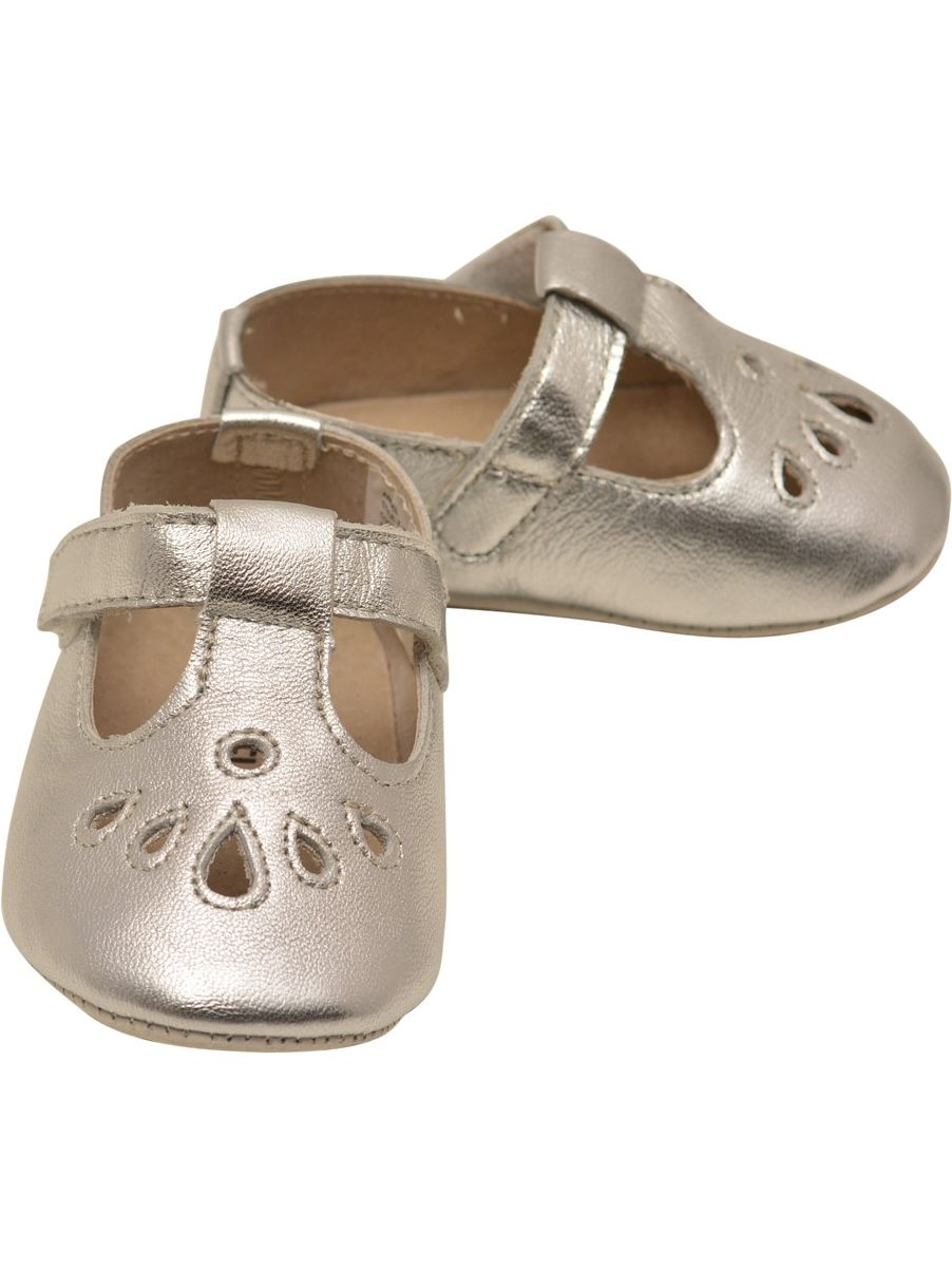Angel Girls Silver Teardrop T-Strap Crib Mary Jane Shoes