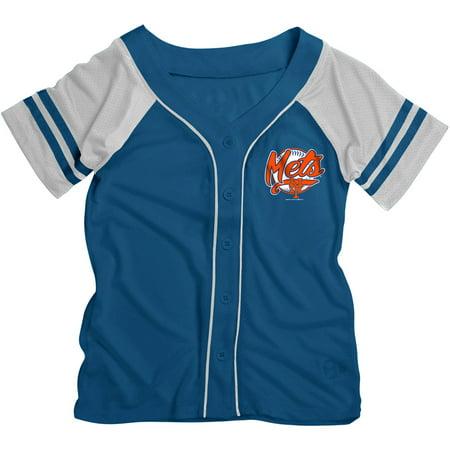 MLB New York Mets Girls Short Sleeve Button Down Mesh Jersey - New York Mets Baseball Jersey