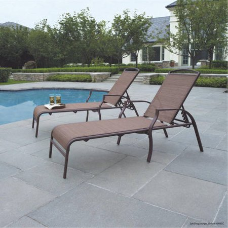 Mainstays Sand Dune Outdoor Chaise Lounges, Set of 2 Double Arm Chaise Lounge
