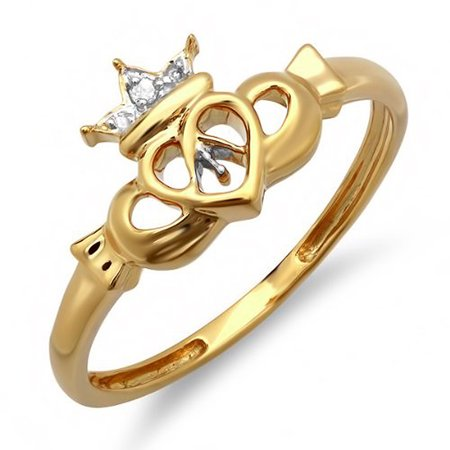 Dazzlingrock Collection 0.03 Carat (ctw) 10k Round Diamond Ladies Bridal Promise Irish Love and Friendship Band Claddagh Heart Shape Ring, Yellow Gold, Size 6.5