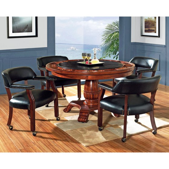 Steve Silver 5 Piece Tournament Dining Game Table Set With Caster Chairs