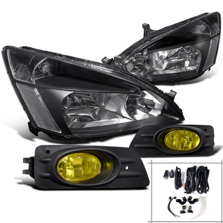 Spec-D Tuning For 2006-2007 Honda Accord Sedan Jdm Black Crystal Headlights + Yellow Driving Bumper Fog Lamps (Left+Right) 2006