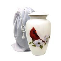Cardinal Bird Cremation Urns for Human Ashes - Large Metal Hand Painted Burial and Funeral Cremation Urn, Memorial Urn for Human Ashes - Red Solid Metal Urn