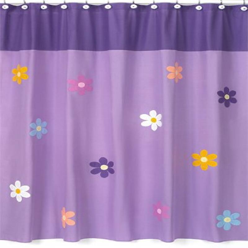 Danielle's Daisies Kids Bathroom Fabric Bath Shower Curtain by Sweet Jojo Designs by