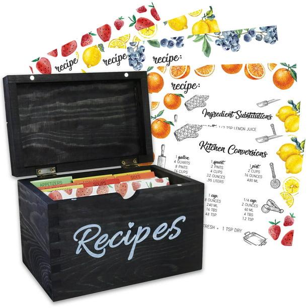Baking Beyond Recipe Box Solid Pinewood Recipe Organizer W 100 Recipe Cards Black Recipe Holder Walmart Com Walmart Com