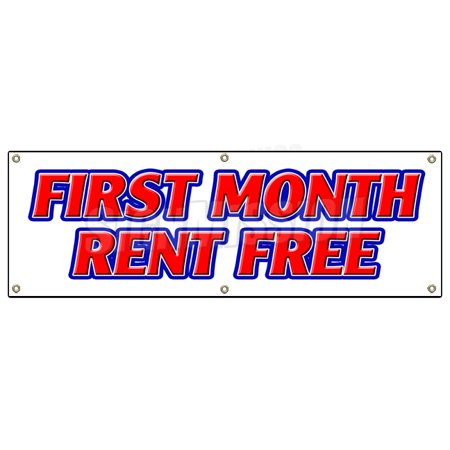 First Month Rent Free Banner Sign Apartment Promotion Rent Lease Condo Townhouse