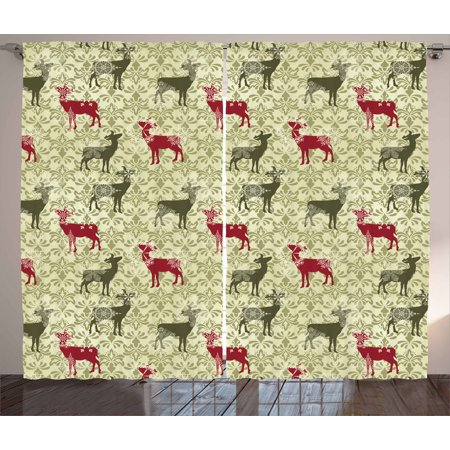 Deer Curtains 2 Panels Set, Damask Pattern Ethnic and Ornate Christmas Themed Animal Silhouettes, Window Drapes for Living Room Bedroom, 108W X 63L Inches, Ruby Olive Green Pale Green, by (Damask Silhouette)