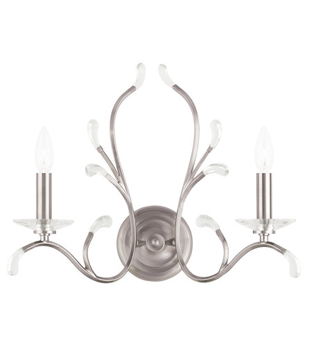 Wall Sconces 2 Light With Clear Crystals Brushed Nickel size 19 in 120 Watts - World of Crystal