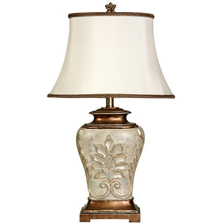 Magonia Table Lamp - Antique White With Gold Accents - White Fabric Shade ()