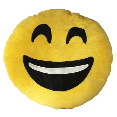 Emoji Cushion with Smiley Face with Teeth Showing Emoji Cushion, Cushion for home, office, car, dorm, room, Decor. For the back for sit on it. Product: 13 x 13x 3.5 (Smiley Face Cushion)