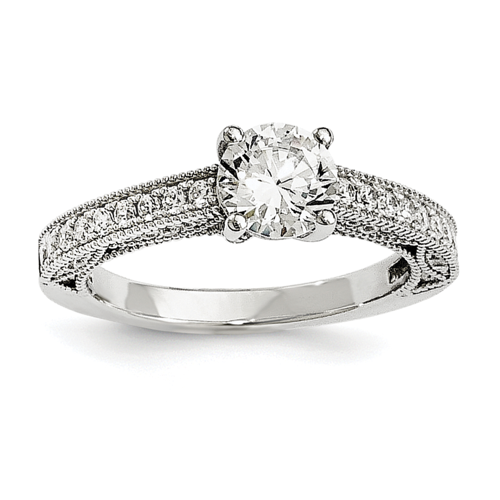 925 Sterling Silver Cubic Zirconia Cz Band Ring Size 6.00