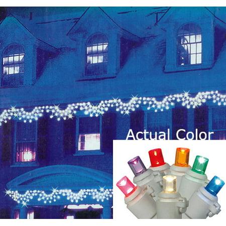 Set of 150 Multi-Color LED Wide Angle Swag Christmas Lights - White (Multi Angle)