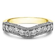 Twobirch  Sterling Silver Vintage Filigree & Milgrained Wedding Band mounted with Cubic Zirconia (1 Cts. twt)