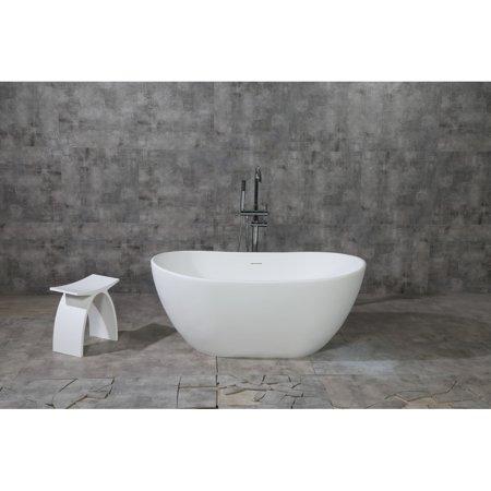 Kingston Brass Collett 57-Inch Solid Surface White Stone Freestanding Bathtub - Matte