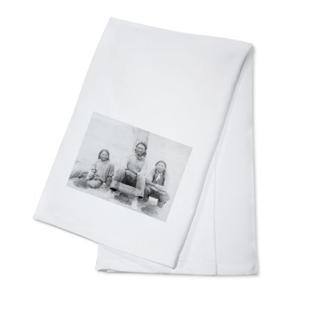 Lakota Indian Teenagers in Western Dress Photograph (100% Cotton Kitchen Towel)