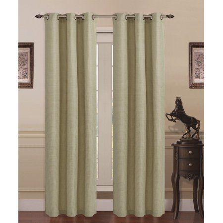 Square Curtain (Union Square Room Darkening Grommet Window Panel Curtain Heavy Linen - Sage )