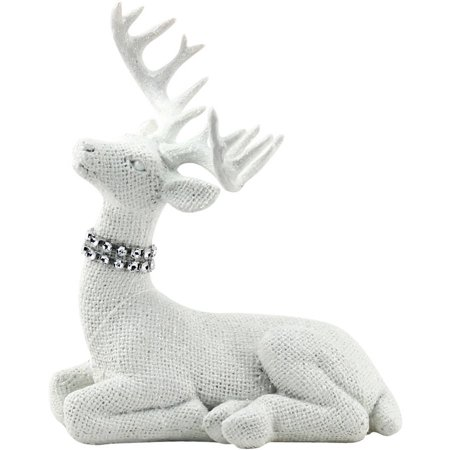 Holiday Time White Sitting Deer Decor