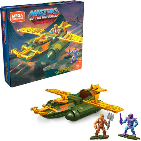 Mega Construx Masters of the Universe Wind Raider Attack construction set with micro action figures, Building Toys for Kids (198 Pieces)
