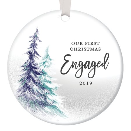 Our First Christmas Engaged, Engagement Ornament 2019 Fiance Fiance Couple Present Idea Snow Trees, 1st Xmas Ceramic 3