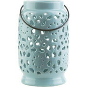 "9.5"" Madison Links Pastel Blue Ceramic Medium Pillar Candle Holder Lantern"