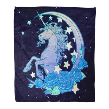 HATIART Throw Blanket 58x80 Inches Kawaii Night Sky Composition with Unicorn Roses Stars and Moon Crescent Festive Warm Flannel Soft Blanket for Couch Sofa Bed - image 1 de 1