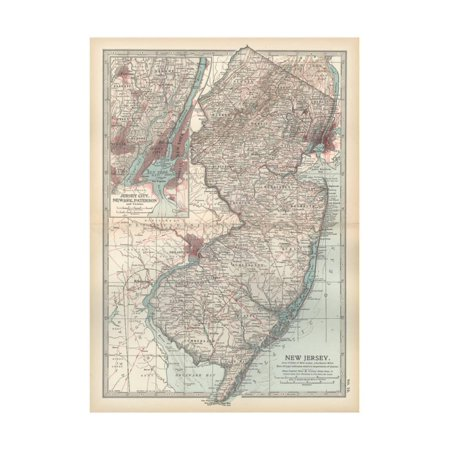 Plate 72. Map of New Jersey. United States. Inset Map of Jersey City Print Wall Art By Encyclopaedia (New Jersey State Map With Cities And Counties)