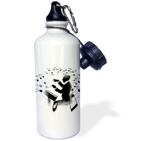 3dRose Image of Black In White Of Conductor With Notes Swirling Around, Sports Water Bottle, 21oz