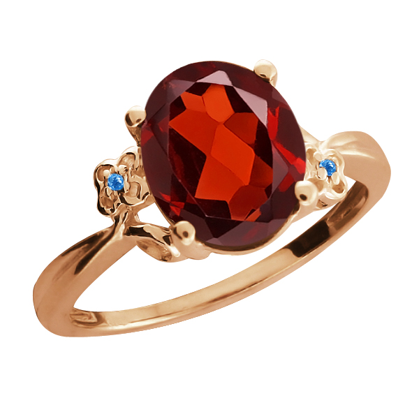 2.86 Ct Oval Garnet Swiss Blue Simulated Topaz Rose Gold Plated 925 Silver Ring