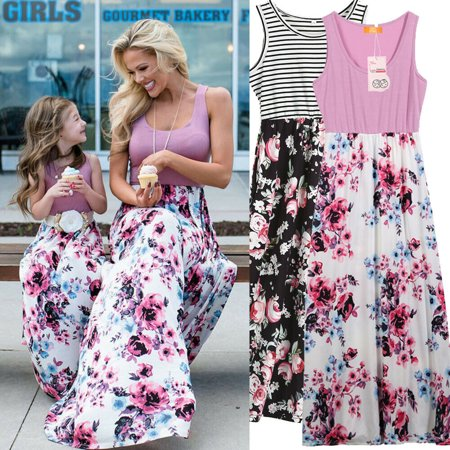 Family Matching Clothes Womens Girls Mother and Daughter Floral Dresses