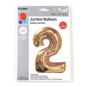 """40"""" Giant Mylar Metallic Gold Number Balloon Two """"2"""" for Party"""