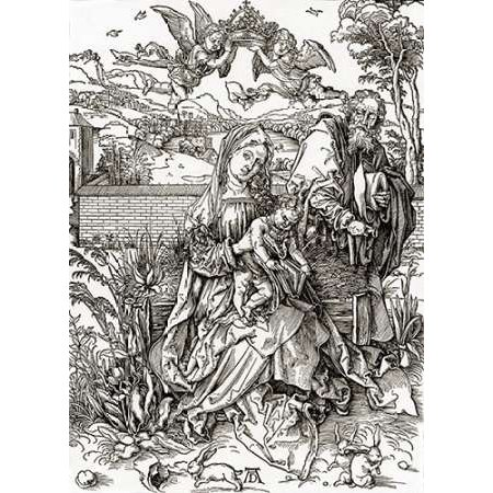 Holy Family With Three Hares Poster Print by Albrecht Durer ()