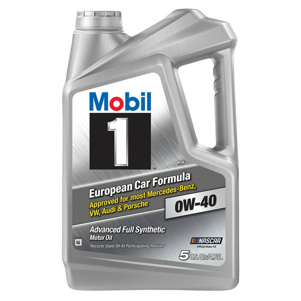 Mobil 1 European Car Formula Full Synthetic Motor Oil 0W-40, 5 Quart