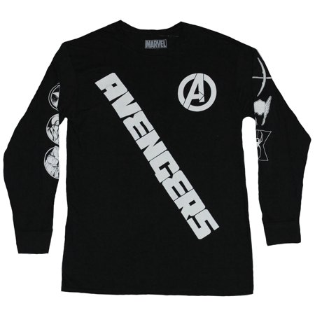 The Avengers Mens Lon Sleeve T-Shirt- Slanted Name Symbol Sleeves Image - Avengers Symbols
