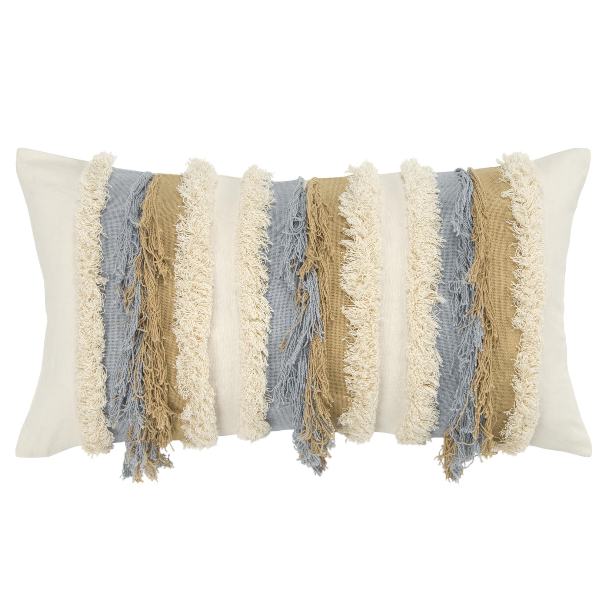 """Rizzy Home Decorative Poly Filled Throw Pillow Stripe 14""""X26"""" Natural"""