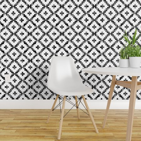Removable Water Activated Wallpaper Black And White Aztec Watercolor M