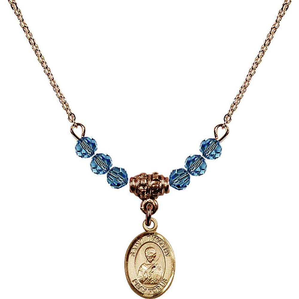18-Inch Hamilton Gold Plated Necklace with 4mm Blue March Birth Month Stone Beads and Saint Timothy Charm