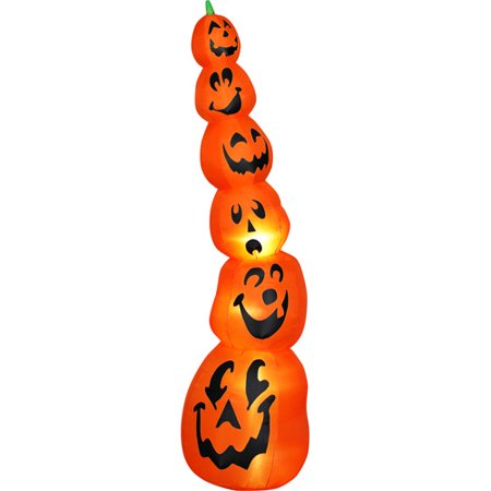 9' Tall Airblown Halloween Inflatable Slender Pumpkin Stack